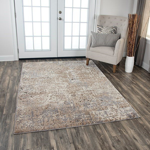 Cream, Beige, Taupe Abstract Area Rug