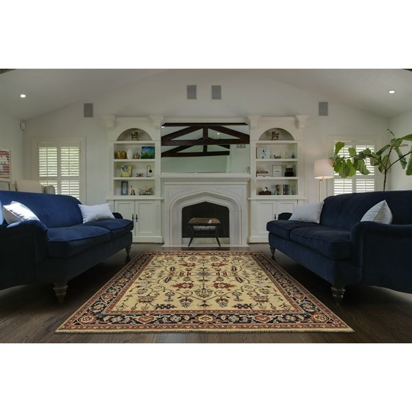 Camel, Black Traditional / Oriental Area Rug