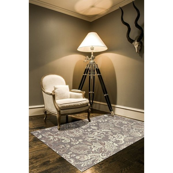 Pewter, Gray Floral / Botanical Area-Rugs