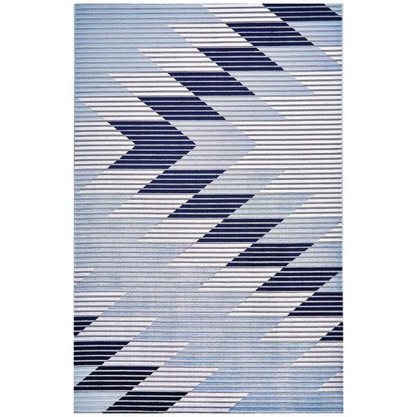 Gray, Light Blue Southwestern Area Rug