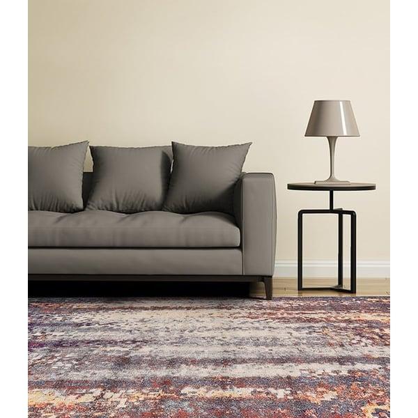 Turquoise, Orange Contemporary / Modern Area Rug