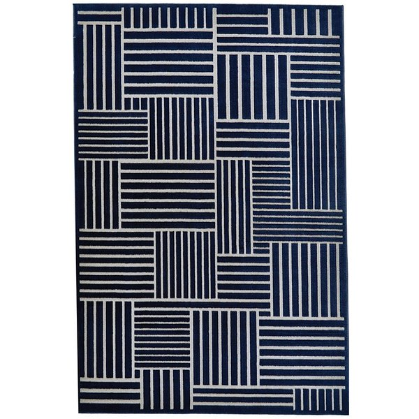 Navy, Gray Abstract Area Rug