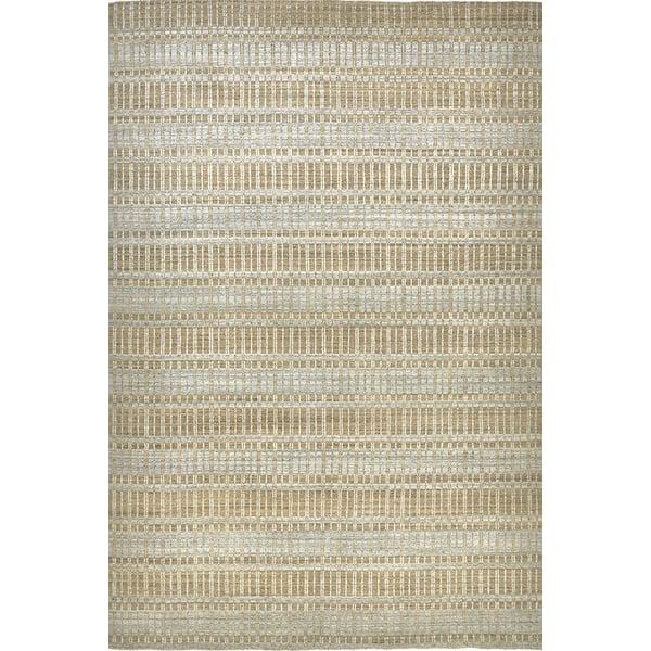 Tan, Silver Striped Area Rug