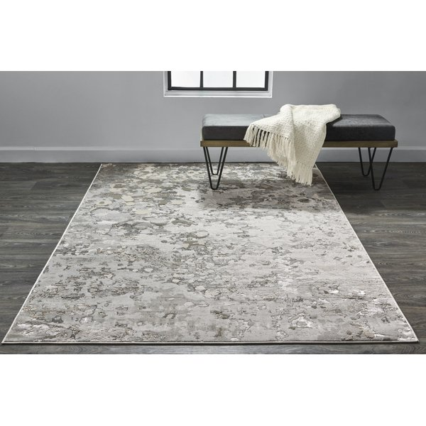 Silver, Grey Abstract Area-Rugs