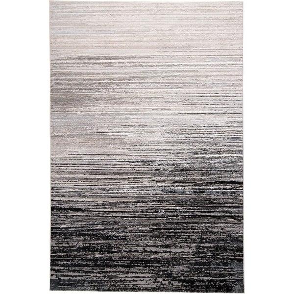 Black, Dark Grey Contemporary / Modern Area Rug