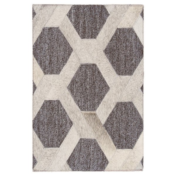 Grey, Asphalt Geometric Area Rug