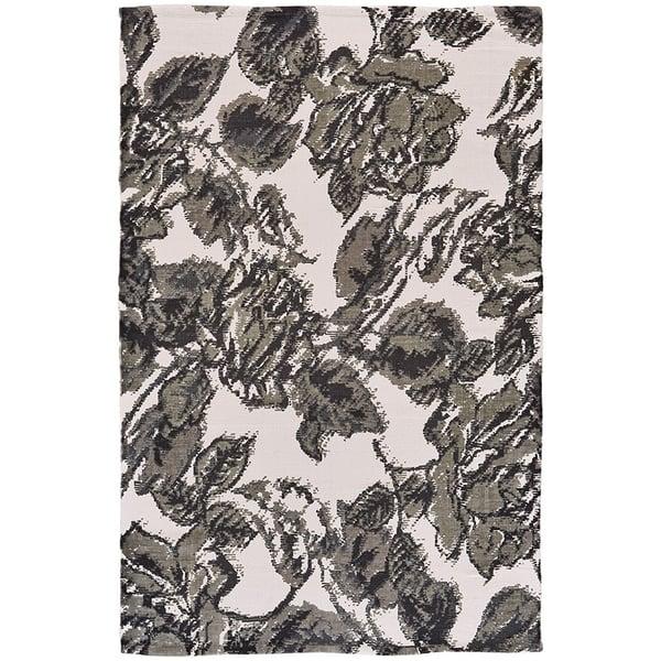 Grey, Black Floral / Botanical Area Rug