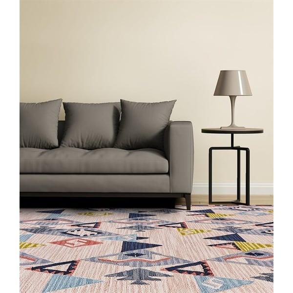 Light Pink, Grey Geometric Area-Rugs