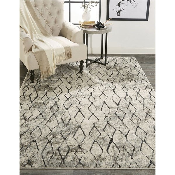 Sand, Charcoal Abstract Area-Rugs