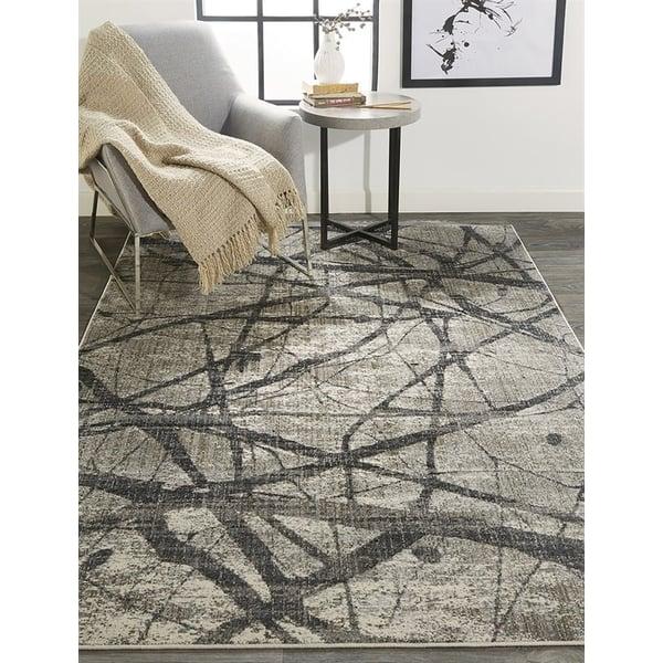 Charcoal, Grey Abstract Area Rug