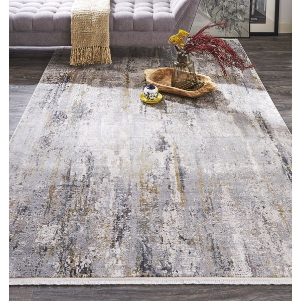 Ivory, Grey Abstract Area-Rugs