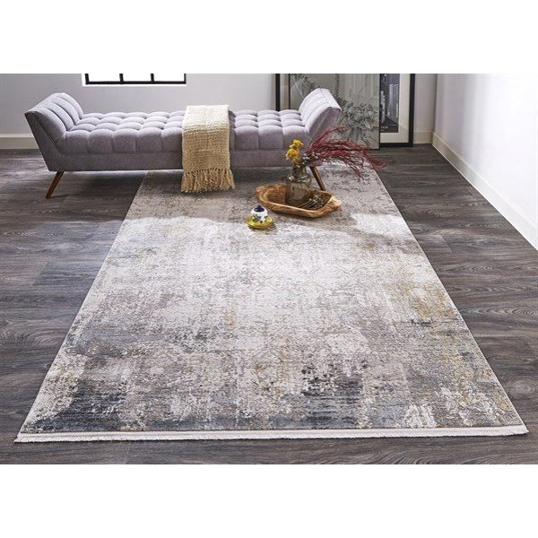Light Grey, Ivory Abstract Area Rug