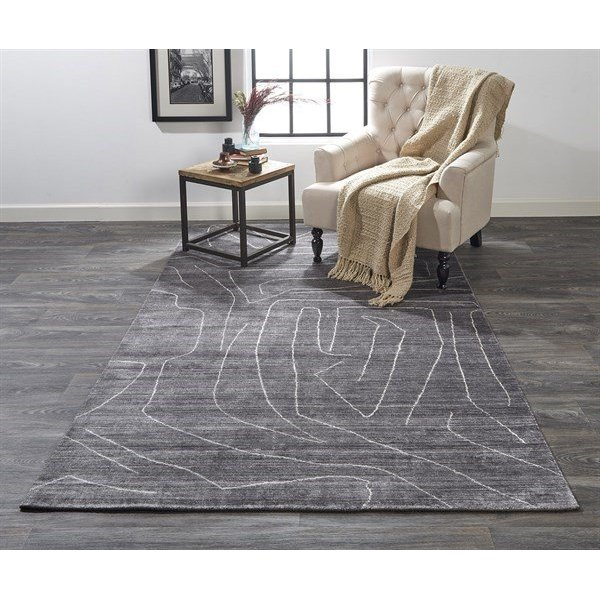 Charcoal Abstract Area-Rugs