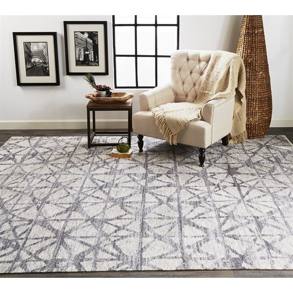 Light Grey, Grey Abstract Area Rug