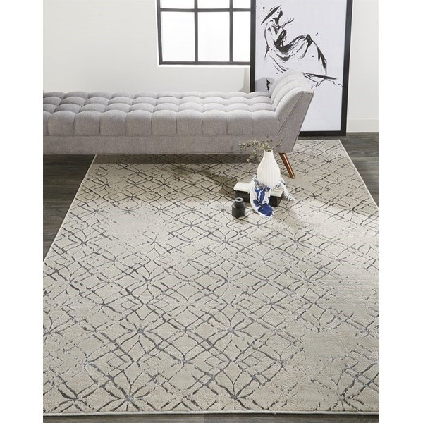 Beige, Silver Contemporary / Modern Area-Rugs