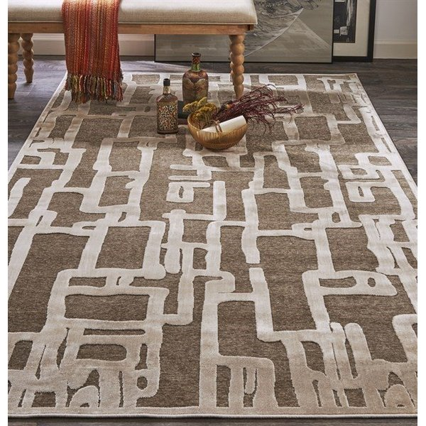 Ivory, Beige Abstract Area-Rugs