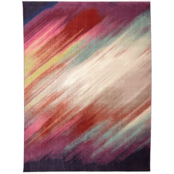 Pink, Cream, Red Abstract Area Rug
