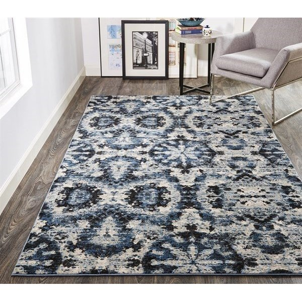 Charcoal, Blue Contemporary / Modern Area-Rugs