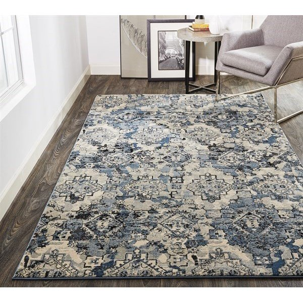 Blue, Tan Vintage / Overdyed Area-Rugs