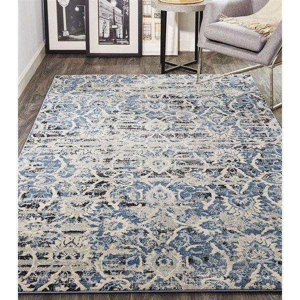 Blue, Ivory Vintage / Overdyed Area-Rugs