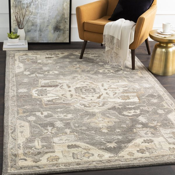 Charcoal, Taupe, Khaki Traditional / Oriental Area-Rugs