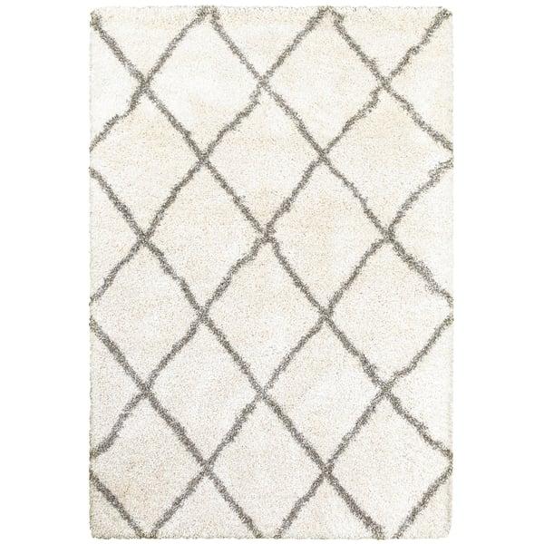 Ivory, Grey (W) Shag Area Rug