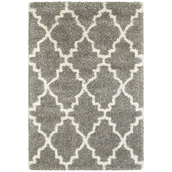 Grey, Ivory (E) Shag Area Rug