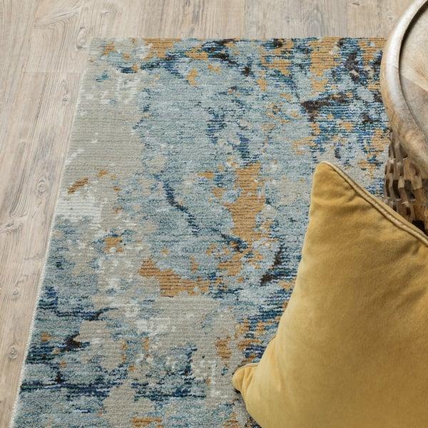 Blue, Gold Contemporary / Modern Area Rug