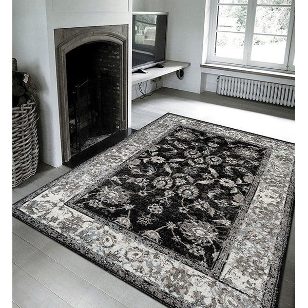 Black, Silver, White Traditional / Oriental Area Rug