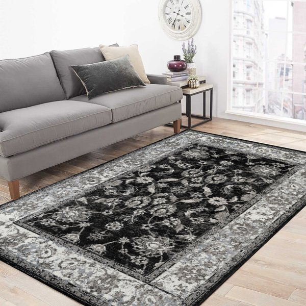 Black, Ivory (ALX-44) Traditional / Oriental Area-Rugs