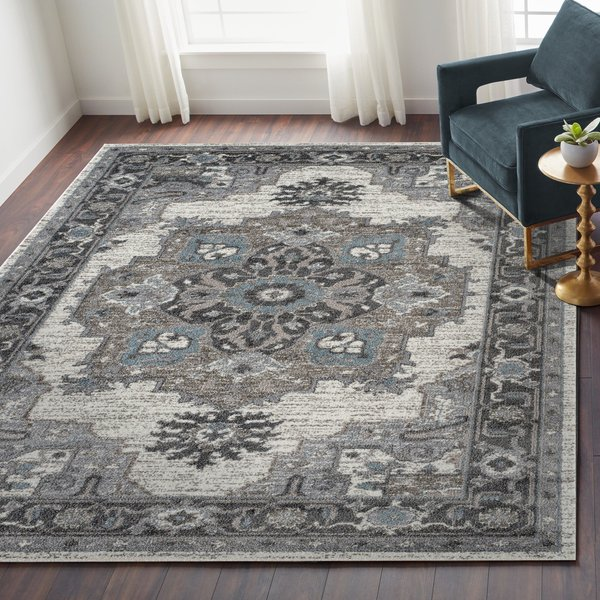 Ivory, Stone Grey (ALX-51) Traditional / Oriental Area-Rugs