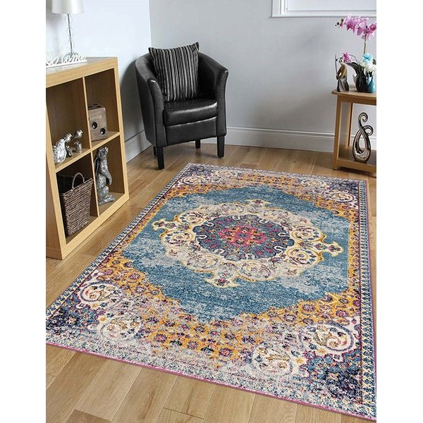 Blue, Yellow, Pink Bohemian Area Rug