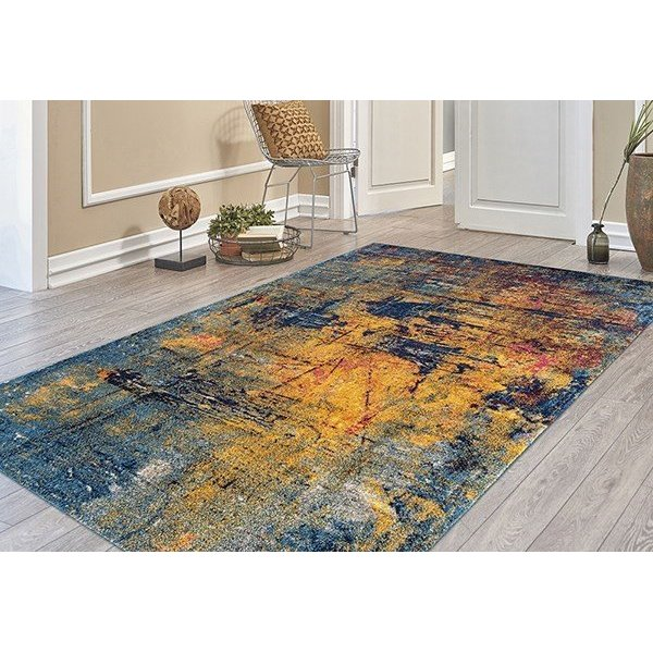 Orange, Blue, Red Abstract Area Rug