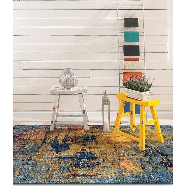 Orange, Blue, Red Abstract Area-Rugs