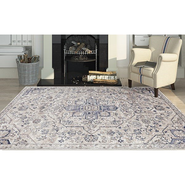 Tan, Black, Blue Traditional / Oriental Area Rug