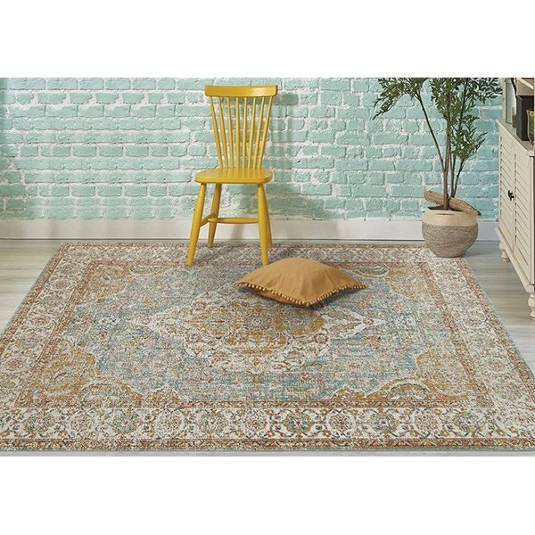 Teal, Gold, Orange, Ivory Traditional / Oriental Area Rug