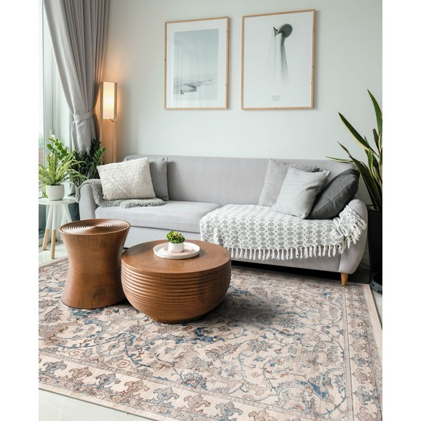 Cream, Blue, Brown Traditional / Oriental Area-Rugs