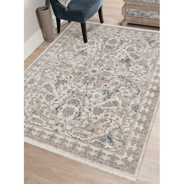 Cream, Blue, Brown Traditional / Oriental Area Rug