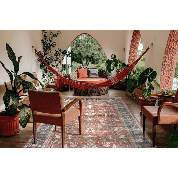 Red, Blue, Cream (ARC-3) Traditional / Oriental Area Rug