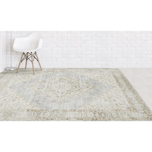 Taupe, Grey, Blue Vintage / Overdyed Area Rug