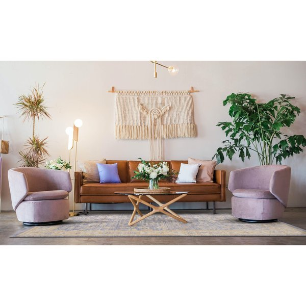 Lavender, Ivory Vintage / Overdyed Area Rug