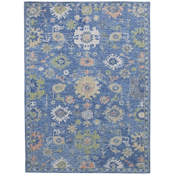 Blue, Green, Coral Contemporary / Modern Area Rug
