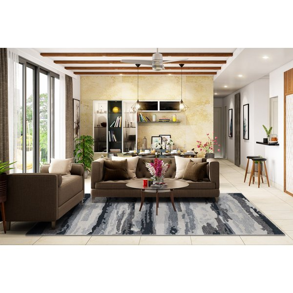 Grey, Charcoal, Blue (ABS-6) Contemporary / Modern Area Rug