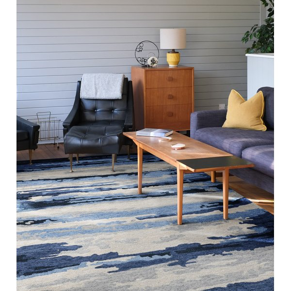 Navy, Blue, Ivory (ABS-7) Contemporary / Modern Area Rug