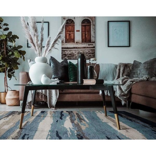 Sky Blue, Grey, Cream (ABS-4) Contemporary / Modern Area Rug