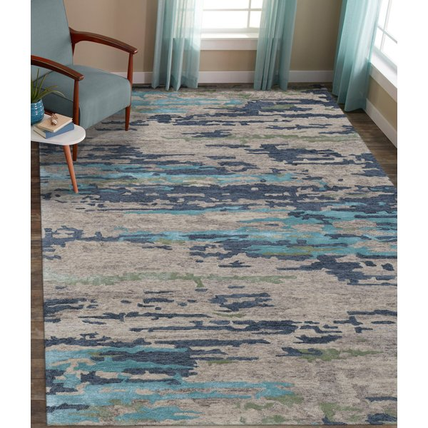 Green, Blue, Beige (ABS-2) Contemporary / Modern Area Rug