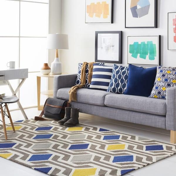 Blue, Gray (HDA-2385) Contemporary / Modern Area Rug