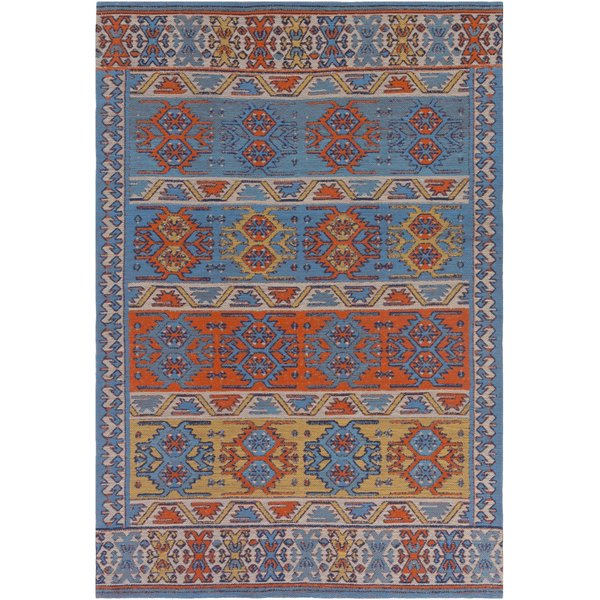 Denim Blue, Poppy Red, Turquoise (SAJ-1062) Bohemian Area Rug