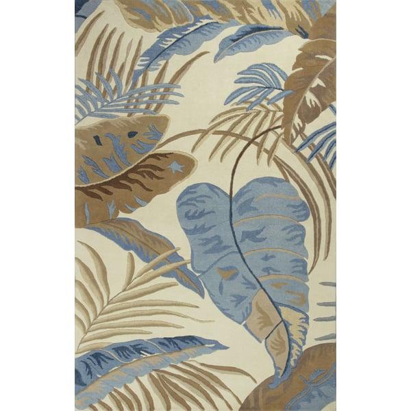 Ivory, Blue (2624) Floral / Botanical Area-Rugs