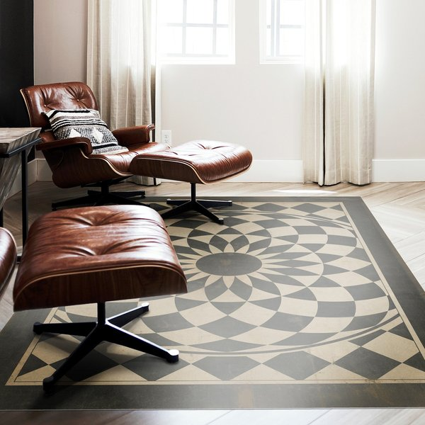 Distressed Black, Muted Beige - Were all Mad Here Contemporary / Modern Area Rug